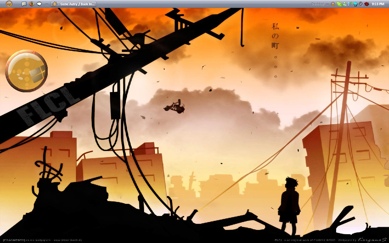 The FLCL wallpaper came from AnimePaper.net and the desktop theme is called